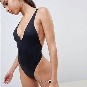 ASOS design recycled  V front high leg thong swim